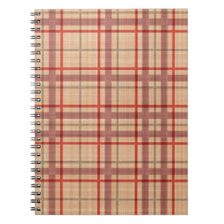 Tela escocesa roja de color salmón spiral notebook