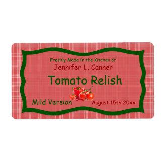 Tela escocesa roja de Sunglo del país con la etiqu Etiqueta De Envío