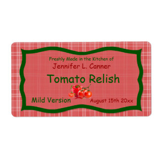 Tela escocesa roja de Sunglo del país con la etiqu Etiquetas De Envío