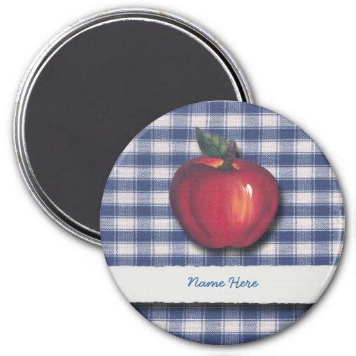 Tela escocesa roja del azul de Apple Iman Para Frigorífico