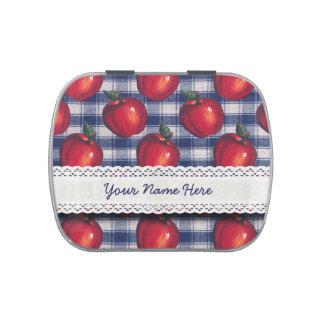 Tela escocesa roja del azul de Apple Latas De Caramelos