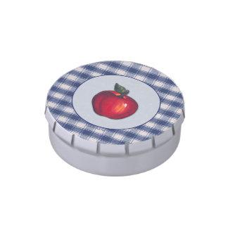 Tela escocesa roja del azul de Apple Latas De Dulces