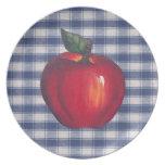 Tela escocesa roja del azul de Apple Plato Para Fiesta