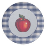 Tela escocesa roja del azul de Apple Platos
