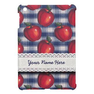 Tela escocesa roja del azul de las manzanas
