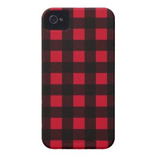 Tela escocesa roja del búfalo iPhone 4 fundas
