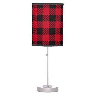 Tela escocesa roja del búfalo lámpara de mesa