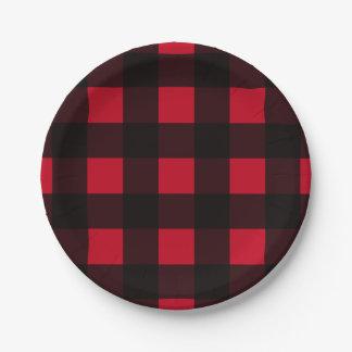Tela escocesa roja del búfalo plato de papel de 7 pulgadas