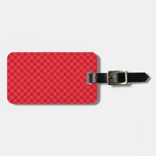 Tela escocesa roja etiqueta de maleta
