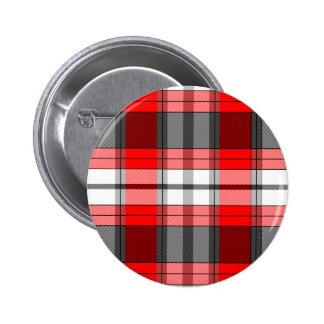 Tela escocesa roja pin redondo de 2 pulgadas