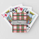 Tela escocesa roja verde conocida personalizada baraja cartas de poker