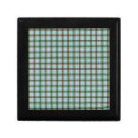 Tela escocesa roja, verde y azul cajas de joyas