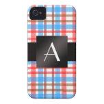 Tela escocesa roja y azul del monograma iPhone 4 Case-Mate protectores