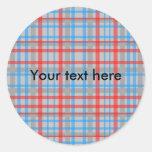 Tela escocesa roja y azul gris moderna etiqueta redonda