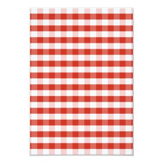 """Tela escocesa roja y blanca de la dalia enorme de invitación 3.5"""" x 5"""""""