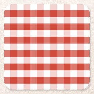 Tela escocesa roja y blanca de la dalia enorme de posavasos de cartón cuadrado
