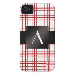 Tela escocesa roja y blanca del monograma iPhone 4 funda