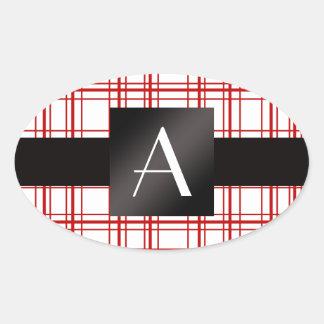 Tela escocesa roja y blanca del monograma calcomania de oval personalizadas