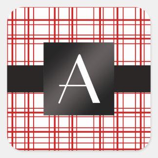 Tela escocesa roja y blanca del monograma pegatina cuadrada