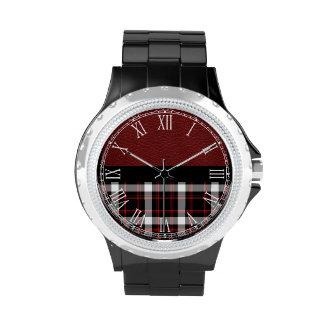 Tela escocesa roja y blanca negra retra hermosa reloj de mano