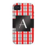 Tela escocesa roja y negra del monograma iPhone 4 fundas
