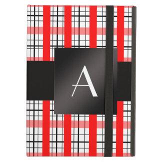 Tela escocesa roja y negra del monograma