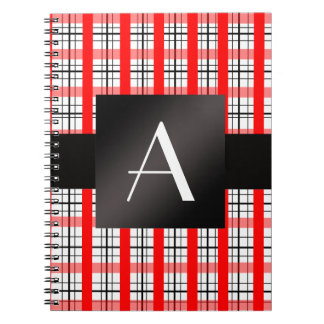 Tela escocesa roja y negra del monograma cuadernos