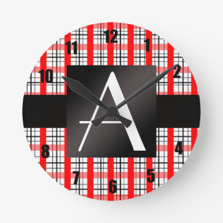 Tela escocesa roja y negra del monograma relojes