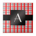 Tela escocesa roja y negra del monograma teja