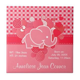Tela escocesa roja y rosada con el elefante del azulejo cuadrado pequeño