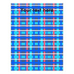 Tela escocesa rosada azul moderna membrete a diseño