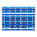 Tela escocesa rosada azul moderna tarjeta