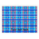 Tela escocesa rosada azul moderna tarjeta postal