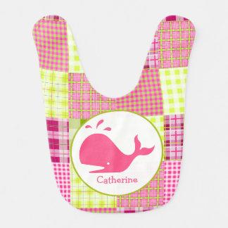 Tela escocesa rosada + Babero personalizado ballen
