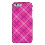 Tela escocesa rosada bonita funda de iPhone 6 barely there