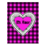 Tela escocesa rosada con el corazón MI Amor Postal