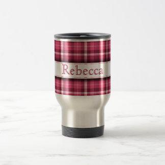 Tela escocesa rosada con nombre adaptable taza térmica