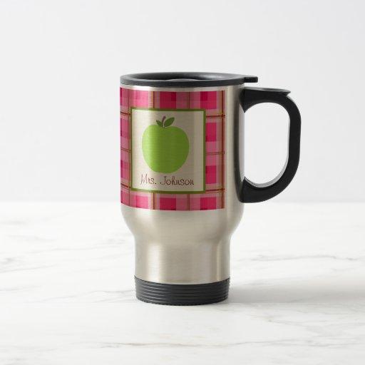 Tela escocesa rosada de Apple del verde de la taza