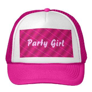 Tela escocesa rosada de la chica marchosa gorras