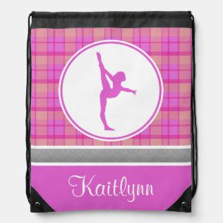 Tela escocesa rosada del amor de la gimnasia con mochilas
