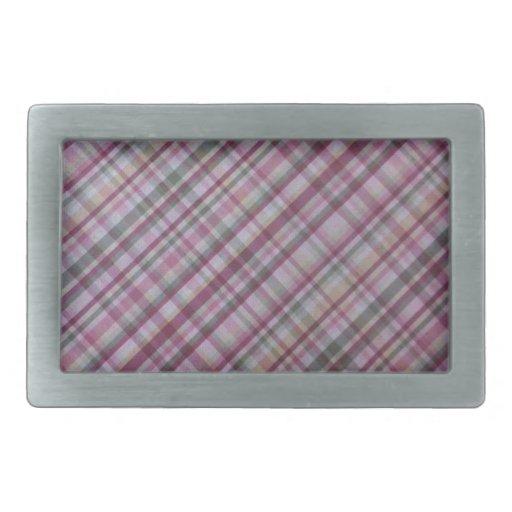 Tela escocesa rosada hebilla de cinturon rectangular