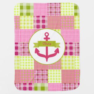 Tela escocesa rosada + Manta personalizada ancla Mantas De Bebé