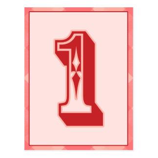 """Tela escocesa rosada número """"1"""" tarjeta de la postal"""