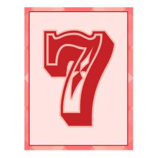 """Tela escocesa rosada número """"7"""" tarjeta de la postal"""