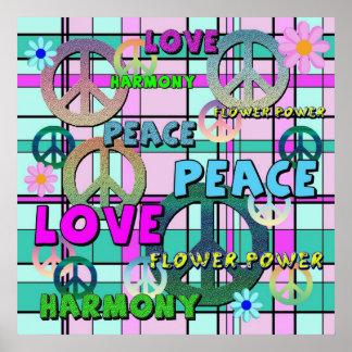 Tela escocesa rosada retra de la paz y del flower  poster