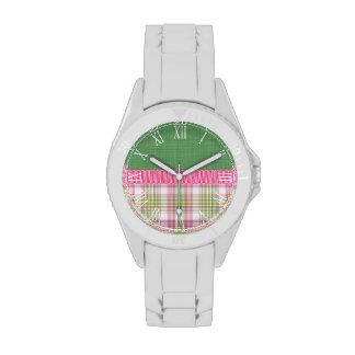 Tela escocesa rosada retra hermosa relojes de mano
