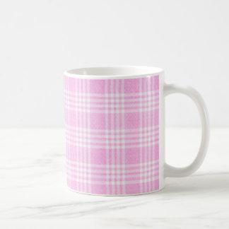 Tela escocesa rosada tazas