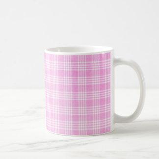 Tela escocesa rosada tazas de café