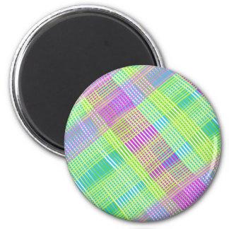 Tela escocesa rosada, verde, y azul imán redondo 5 cm