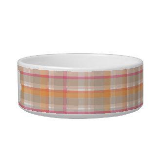 Tela escocesa rosada y anaranjada personalizada tazón para agua para gatos